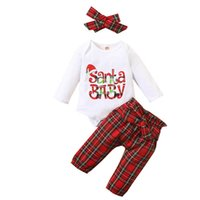 Christmas Newborn Outfits Baby Clothing Sets Girls Clothes Infant Suits Cotton Long-Sleeved Plaid Print Romper Pants Trousers Headbands 3Pcs B8468