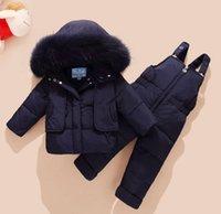 Coat Children Clothing Kids Down Jacket Baby Girl Boy Fur Hooded Parkas +bib Pants Jumpsuit Clothes Winter Snowsuits
