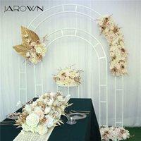 Jarown düğün kemer metal çiçek standı yapay gül satır pembe düzenleme arka plan dekor yuvarlak
