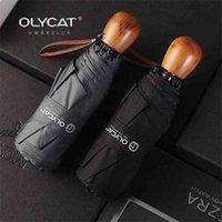 OLYCAT Compact Mini Зонтик Женщины Детские и Мужские Карманные Деревянные Ручка Ветрозащитный УФ Складная 210826