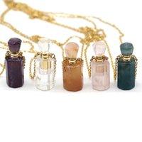 Pendentif Colliers Bouteille de parfum naturel Crystal Stone Collier Agâts Quartzs Rose Quartzs Essential Diffuseur Charme Chaîne de cuivre Bijoux