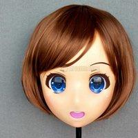 Festa máscaras (caomei-01) feminino menina doce resina meia cabeça kigurumi crossdress cosplay japonês anime funde lolita boneca máscara com olhos e peruca