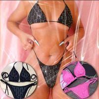 Lüks Elmas Mayo Mektupları Kristal Bikini Tasarımcı Mayolar Kadın Sutyen Seti Tatil Mayo Beachwear Hediye