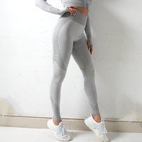 Novas nádegas de quadril de malha sem costura Moisture Wicking Pants de ioga Calças de fitness esportivas Sexy nádegas Feminino Leggings S-XXL