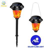 Güneş Alev Işıkları LED Flickering Torch Lamba Su Geçirmez Dans Alevler Peyzaj Çim Lambaları Açık Bahçe Asılı Meşaleler Dekorasyon Işık