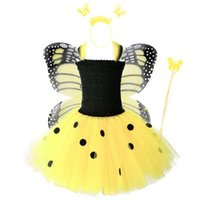 Little Girls Yellow Animal Bee Butterfly Fairy Suit Princess Birthday Party Dress Tutu Skirt Costume Cosplay Props