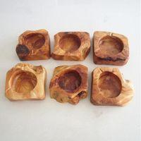 나무 재떨이 나무 라운드 브라운 애쉬 홀더 연기 담배 재떨이 맞춤형 Lables 가정 재떨이 GWC6841에 대 한 갈색 포켓 재떨이