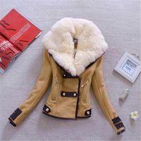Jaquetas das mulheres jaqueta de couro de inverno mulheres casaco falso coleira de pele curto feminino elegante moto zíper zipper Outerwear # T1G