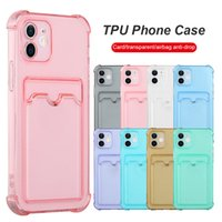 Crsytal Clear Soft TPU Shockproof Phone Case With Credit ID Card Slot Pocket Wallet Transparent Back Cover for iphone 13 12 mini 11 pro max X XS XR 7 8 6 Plus