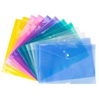 NEWA4 Document File Sacs avec bouton-pression Touche Transparent Classement Enveloppes Fichier Plastique Dossiers Porte-dossiers 6 couleurs EWE7613