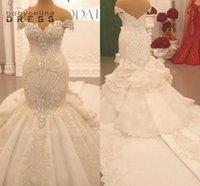 Luxus Perlen Appliques Spitze Meerjungfrau Brautkleider 2021 Elegante Schultergericht Backless Rüschen Gerade Lange Arabische Brautkleider BC5705