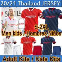 2020 2021 Sevilla fc Севилья ФК футбол Джерси # 10 I.rakitic # 9 de Jong 2020 2021 Главная прочь Третья футбольная рубашка Индивидуальные Футбольные Униформа Мужчины + Дети