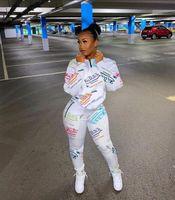 2020 Jogger Mulheres Tracksuit Dois Peça Set Manga Longa Chic Impresso Suéter Top e Cintura Alta Calças Esportivas Outfits Casuais