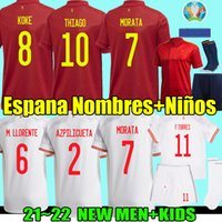 2021 Taraftarlar Oyuncu Espana futbol forması RODRIGO TORRES PEDRI İspanya futbol forması MORATA RAMOS THIAGO INIESTA erkekler çocuk kiti İspanya ekipmanları futbol formaları
