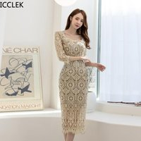 Icclek herbst koreanische stil frauen temperament prominente aussehen dünne spitze gehäkelte hüfte mittel party elegnat kleid