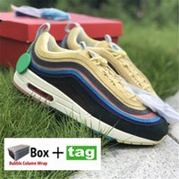 Avec Box 97og SW Shoes Shoge Shoes Sean Wotherspoon Hommes Femmes Sneakers 97S Vivid Sulfur Multi Yellow Blue Hybriders Hybride 2021 2022 Hommes Bottes Femmes Taille 36-45