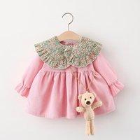 Girl's Dresses Autumn Baby Girls Long Sleeve Floral Print Lapel Collar Corduroy Princess Party Pleated Kids Dress + Cute Bear Vestidos