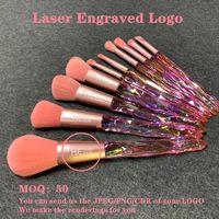 OEM Factory Nylon Hair Makeup Brush Sets With Bag Transparent Diamonds Crystal Handle Make Up Brushes