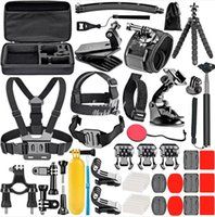 Gopro Accessories Set, Go Pro Hero 9 8 7 6 5 4 Kit 3 Way Selfie Stick, f-or Eken h8r   fo-r yi EVA Case VS77, Black Mount Action Camera, 2-2