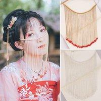 헤어 액세서리 중국 고대 스타일 긴 술 페이셜 커튼 Tiaras 아름 다운 신부 얼굴 장식 전통 결혼식