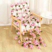 2.2M Flores de cerejeira artificial flores de casamento festão de casamento decoração falsificar flores de seda videira para festa arco casa decoração string OOD5502