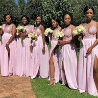 Sweet Pink 2021 Bridesmaid Dresses A Line Lace Appliqued Illusion Jewel Neck Zip Back Split Front Chiffon Maid Of Honor Dress Wedding Party Guest Gowns
