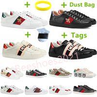 Mens Italy Biene Casual Schuhe Frauen Weiße Flachleder Schuh Grün Rot Stripe Gestickte Tiger Schlange Paare Trainer des Chaussures