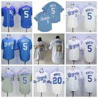 빈티지 1983 1985 Retrror Baseball 5 George Brett Jersey 13 Mike Aviles 20 Frank White Cooperstown FlexBase 멋진베이스 스티치 블루 그레이