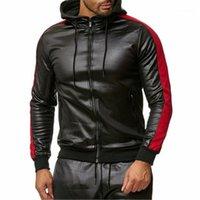 Casual Slim Oberbekleidung Mann PU Faux Leder Jacken Mode Trend Spleißen Langarm Cardigan Reißverschluss Mit Kapuze Mäntel Kleidung Männliche Frühling