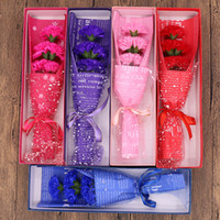 Carnation Soap Flower Gift Box Moederdag Leraar Dag Gift Creatieve Romantische Bruiloft Carnation Soap Flower Bouquet Rood Roze
