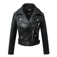 Maney Arty Femmes Automne Hiver Black Faux Cuir Vestes Zipper Basique Basic Collier Collier Moteur Veste avec courroie LJ201012