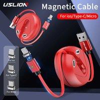 USLION 3A Mini Retractable Magnetic USB Cable Fast Charge for iPhone Type C Micro Quick For Xiaomi Data Line