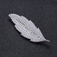 Pins, Brooches Wuli&baby Pearl Leaf For Women Men 2-color Classic Plants Flower Party Office Brooch Pin Gifts