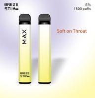 Hot In Australia Breze Stick Max Disposable Vape Pen Electronic Cigarettes 950mAh Battery 1800 Puffs 6ml Pod Pre-Filled Pods 8 Colors