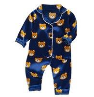 Çocuk seti bebek takım elbise çocuk giysileri toddler erkek kız buz ipek saten tops pantolon setleri ev giyim çocuklar pijama
