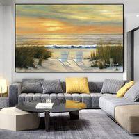 Peintures Sunset Sandy Beach Affiches et impressions Paysage de mer Paysage Toile Mur Art Photos Pour salon Décape côtière Décape Case Cadre