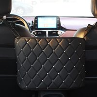 Car Organizer PU Leather Storage Bag Diamond Rhinestone Container Barrier Of Backseat Holder Multi-Pockets Stowing Tidying
