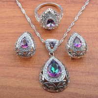 2020 Exclusive Rainbow Cubic Zirconia Hollow Water Drop Silver Plated Women Jewelry Sets Clip Earrings Necklace Ring JS215