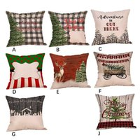 Pillow Case Christmas Pattern Sofa Car Throw Cushion Cover Home Decor Peach Velvet Pillowcase 45 * 45cm 928