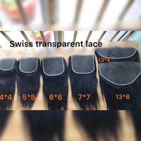 Freseals الدانتيل الشفاف السويسرية 4x4 5x5 6x6 7x7 13x4 13x6 الأذن إلى الأذن قبل الفخذ الدانتيل الفائق الإغلاق مع شعر الطفل