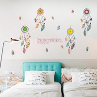Wall Sticker Colorful Dreamcatcher Feather Vinyl Removable Sofa Bedroom Living Room Background Decor