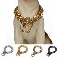 الكلب المعادن طوق p سلسلة الذهب الفولاذ الصلب كلب سلسلة طوق المعادن قلادة 19 ملليمتر عرض قوي كبير الكلب الياقات بيتدو x0703