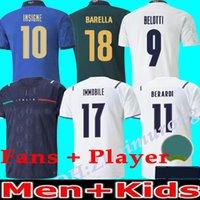 2021 Italia Coppa Europea Uomini e bambini Casa Away Soccer Jerseys Squadra nazionale 20/21 Insigne Belotti Verratti Immobile Pirlo Chiesa Camicia da calcio Camisa uniformi