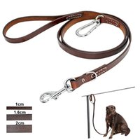 Dog Collars & Leashes Leather Pitbull Leash Durable Large Leashed With Mountaineering Buckle Outdoor Pet Leads For Medium Dogs