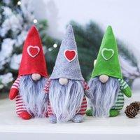 메리 크리스마스 심장 모자 스웨덴 산타 그놈 봉제 인형 장식품 수제 장난감 홈 파티 장식 선물 HWA7702
