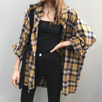 Missky Women Shirt Shirt Blusa Plaid Spring Autumn Sparcing Splicing Long College Lady Lady Middle Long Long For Female Nuevo