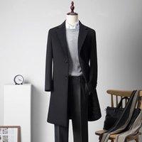Mãos de lã masculina shan bao magro longo casaco inverno marca vestuário luxo de alta qualidade negócios cavalheiro dois botão preto azul