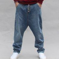 Men's Jeans Cowboy's Cross-pants Short Men Fall Wide Virus Brim Harajuku Hip Hop Streetwear Dance Denim Pants Harem Joggers QGEK