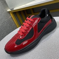 Erkekler Amerika'nın Kupası Bisiklet Kumaş Sneakers Patent Deri Örgü Düz Ayakkabı Kauçuk Alt Eğitmenler Tasarımcı Sneaker Yeşil Kırmızı Dantel-up Naylon Rahat Ayakkabılar