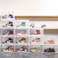 Transparent AJ Sneakers Box Plastic Dustproof Shoe Box Football Shoebox Display Case Household Wardrobe Organzier Underwear Box Q0901